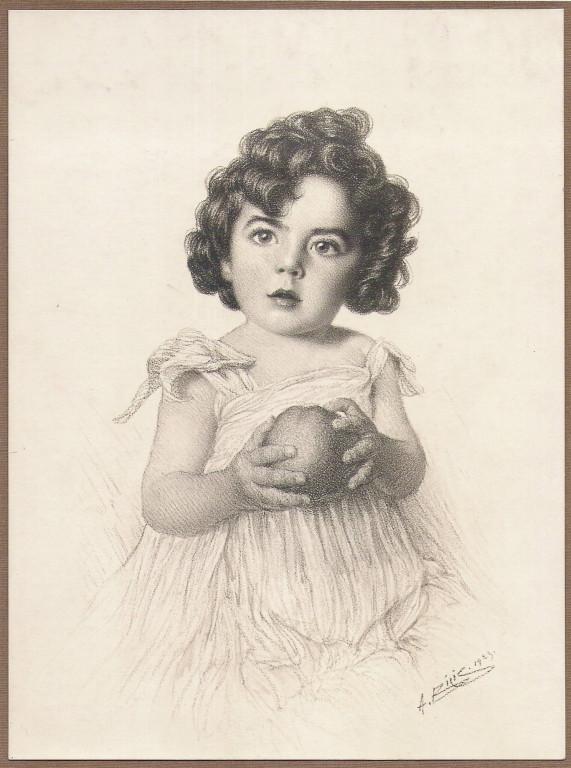 Niña Agustina de Alzaga Rodrigez Laretta 1923 fusain André Aaron Bilis