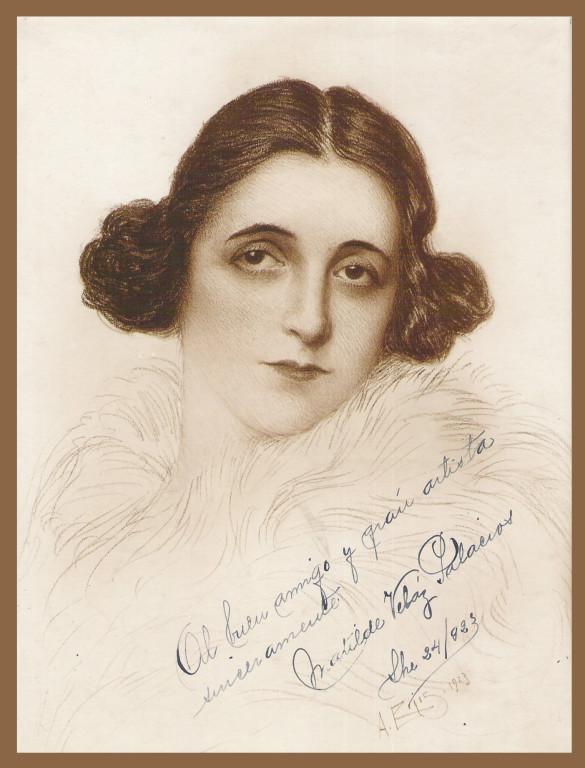 Señora Madilte Veloz Palacois 1923 fusain André Aaron Bilis