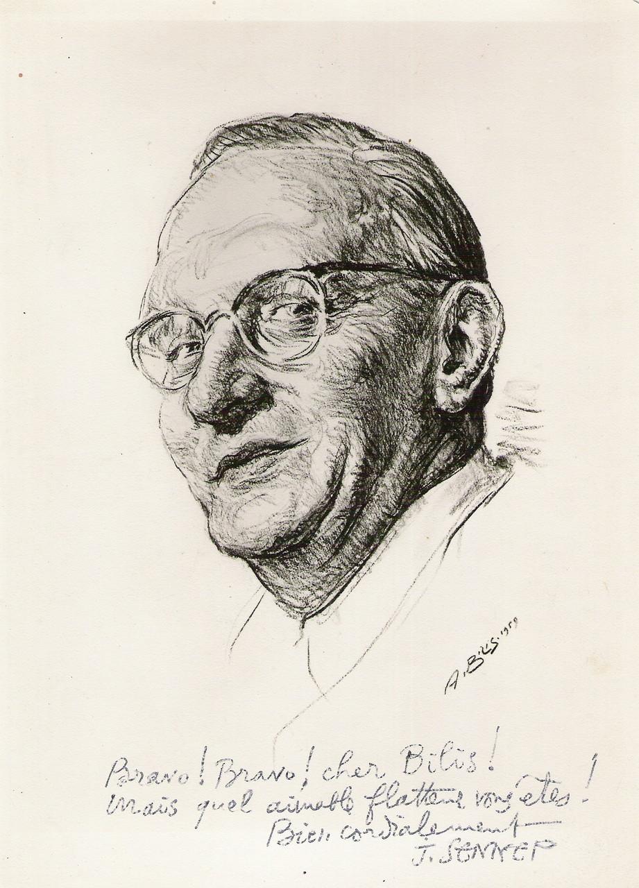 Jean-Jacques Sennep  dessinateur et caricaturiste  1959 fusain André Aaron Bilis