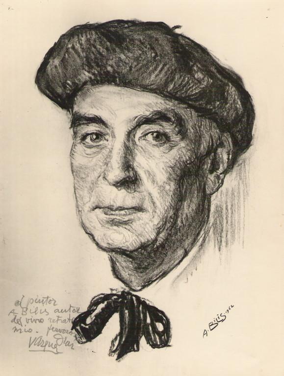 Vasquez Diaz, peintre 1962 fusain André Aaron Bilis