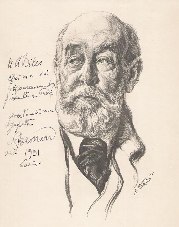 Besnard Albert, peintre 1931 fusain André Aaron Bilis
