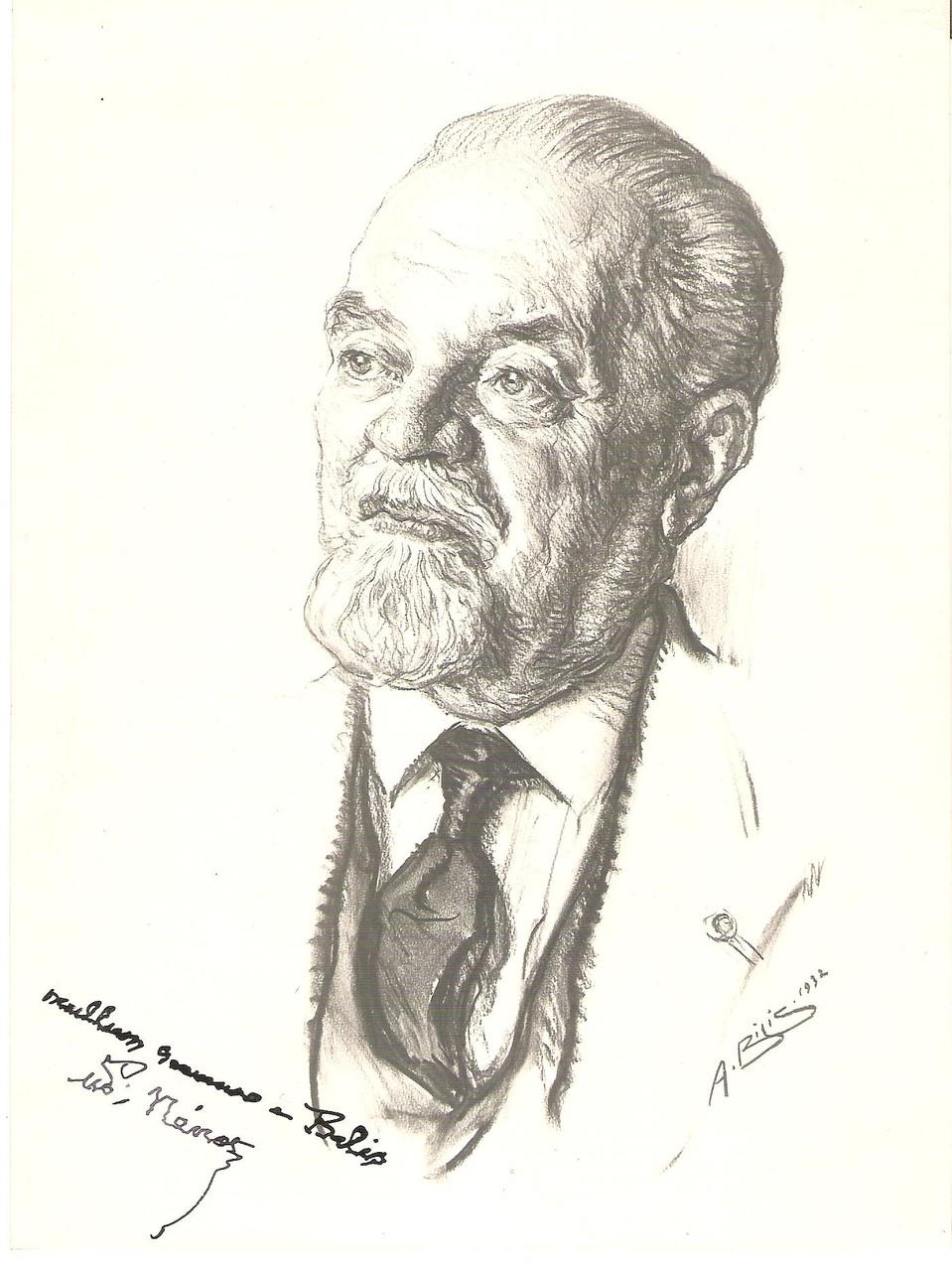 Nenot architecte 1932 fusain André Aaron BILIS
