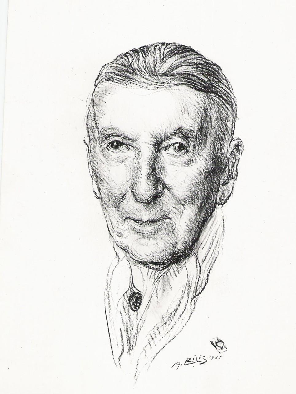 M.Bswoorth architecte americain 1965 fusain André Aaron BILIS