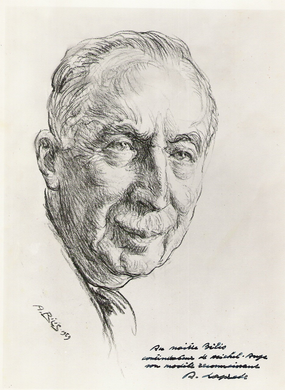Albert Laprade architecte  1969 fusain André Aaron BILIS