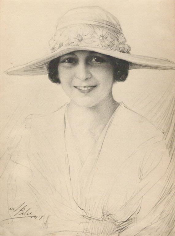 Señorita Marcia Elena Aldo Unzue 1917 fusain André Aaron Bilis