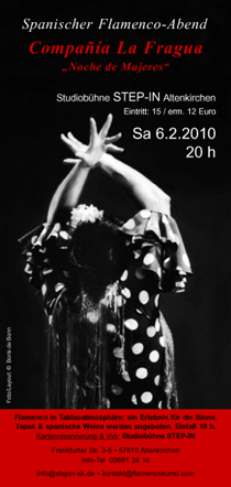 "Flyer für Flamenco-Konzert ""Noche de Mujeres"" mit Companía La Fragua in Altenkirchen 2010/SW-Foto by Boris de Bonn"
