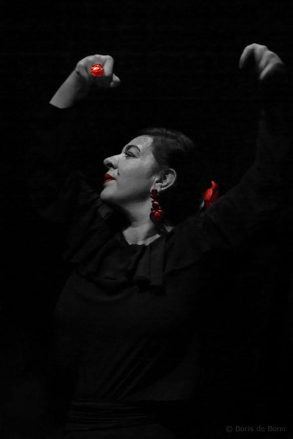 Flamenco-Tänzerin Rosa Martínez on stage (Colorkey)