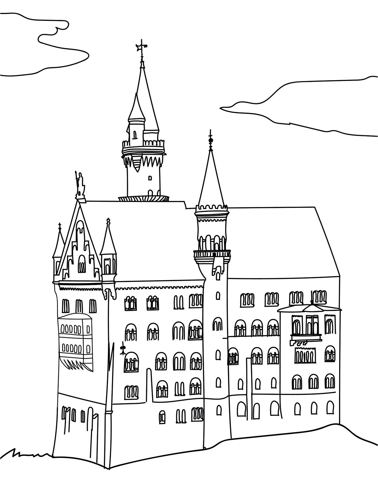Ausmalbild Kirche
