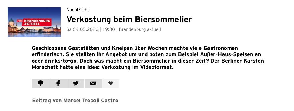 Biertasting und Bierseminare - live und digital - biersommelier.berlin - Biersommelier Karsten Morschett - rbb