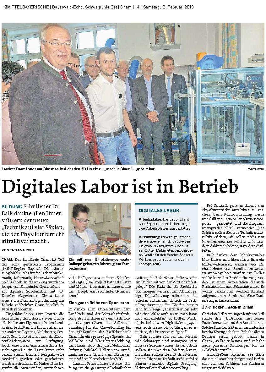 Zeitungsartikel der Bayerwald-Echo