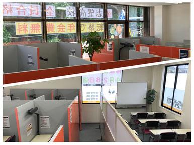 上:堺西鳳北町校、下:富田林金剛東校の教室内