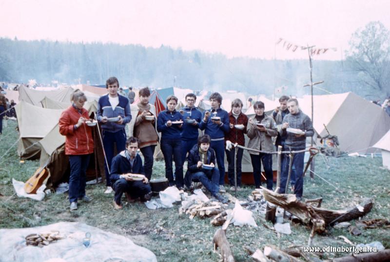 Группа МИИТ-ФИЛЬМа на Московском городском слёте КСП. 1986 год.
