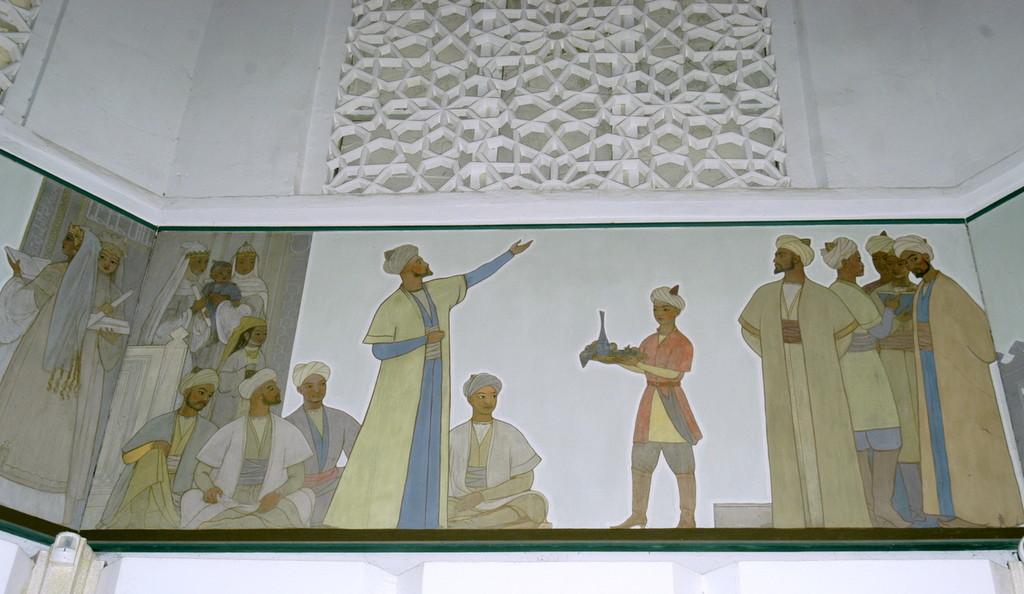 Fresque d'Ulugh Beg et d'Ali Kuschchi, Musée de l'Observatoire d'Ulugh Beg à Samarcande (photo : M.Schvoerer, 2008).