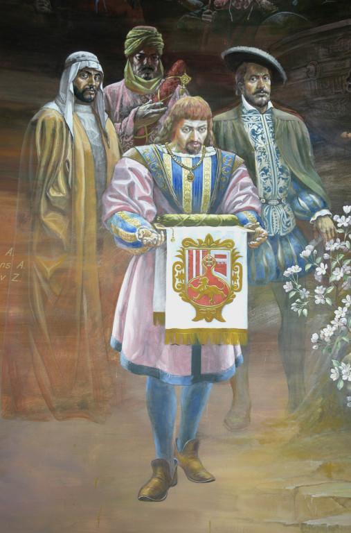Fresque représentant les timourides, ici l'Ambassadeur d'Espagne, R.Gonzalez de Clavijo, Musée d'Histoire de Tachkent. Peinte en 2001 par A.Alikulov, A.Agahanyans et Z.Gulmetov (photo : Ollagnier, 2008)