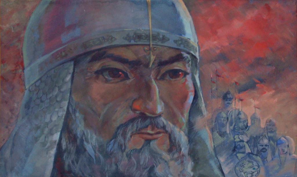 """Détail de l'huile sur toile contemporaine intitulée """"Timour"""", par Sadriddin Salimov. Musée d'Arts Appliqués de Karshi (photo : C.Ollagnier, 2007)"""
