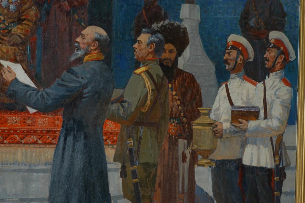 Détail de la peinture à l'huile intitulée Lutte pour la liberté, 1916,  date et auteur non déterminés, Musée de l'Ancien Khorezm (photo : M.Schvoerer, 2008)
