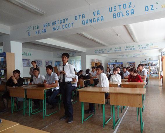 Présentation du patrimoine de Shahrisabz dans une école de la ville (Socra, 2013)