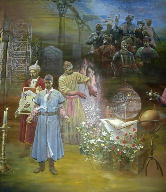 Fresque représentant des sciences (astronomie, architecture) et arts (stuc, etc.) Musée d'Histoire de Tachkent. Peinte en 2001 par A.Alikulov, A.Agahanyans et Z.Gulmetov (photo : Ollagnier, 2008)