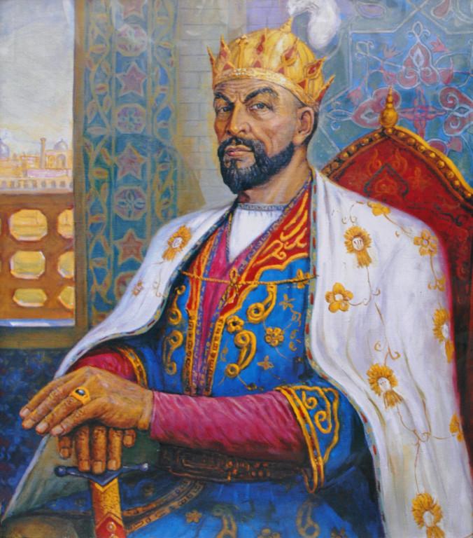 Copie d'un portrait d'Amir Timur conservé dans le bureau du directeur du musée du même nom (photo : M.Schvoerer, 2008)