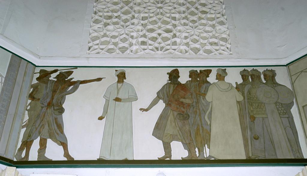 Fresque d'Ulugh Beg et d'Ali Kuschchi, Musée de l'Observatoire d'Ulugh Beg à Samarcande (photo : C.Ollagnier, 2008).