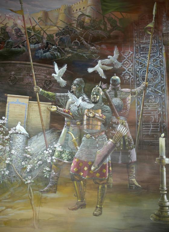 """Fresque représentant les timourides, """"soldats de la paix"""", Musée d'Histoire de Tachkent. Peinte en 2001 par A.Alikulov, A.Agahanyans et Z.Gulmetov (photo : Ollagnier, 2008)"""