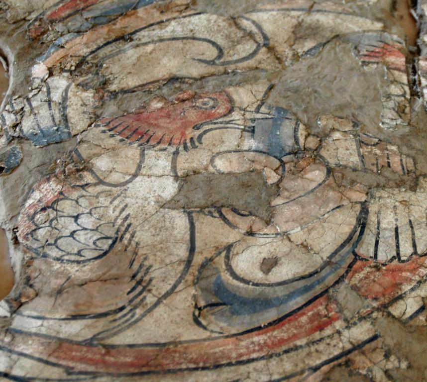 Peinture murale figurant un oiseau (VII-VIIIème s ap J.C.) en cours de restauration à l'Institut d'Archéologie de Samarcande (photo : M.Schvoerer, 2008)
