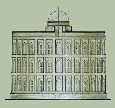 Hypothèse du plan en élevation de l'observatoire réalisé durant les fouilles de 1948