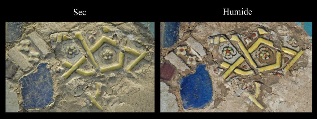 Fragments de carreaux de céramique glaçurée monochromes ou polychromes qui ne semblent pas être en place, ou du moins pas à la place à laquelle ils étaient originellement destinés (photo : M.Schvoerer, 2008)