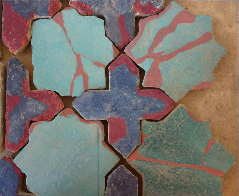 Le même ensemble avec en rouge, indication des zones peintes (Socra, 2012)