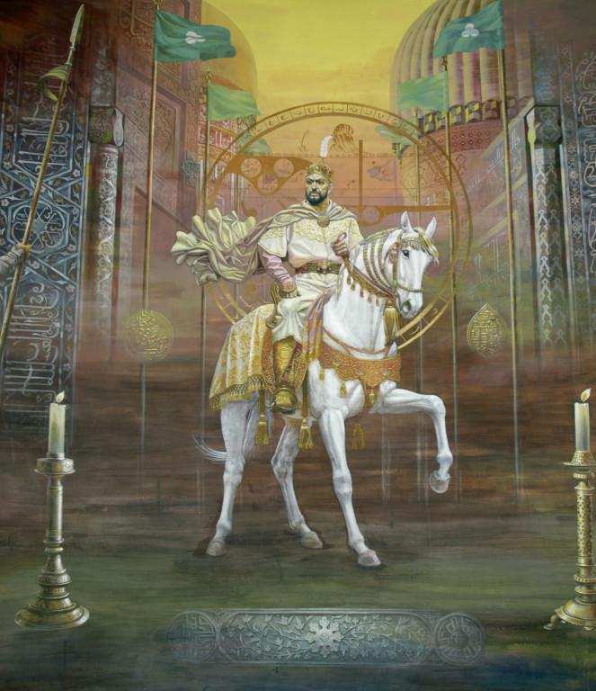 Fresque représentant les timourides, ici Timour à cheval,  Musée d'Histoire de Tachkent. Peinte en 2001 par A.Alikulov, A.Agahanyans et Z.Gulmetov (photo : Ollagnier, 2008)