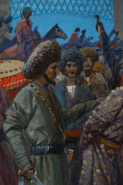 Détail de la peinture à l'huile intitulée Les Russes attaquant Khiva, date et auteur non déterminés, Musée de l'Ancien Khorezm (photo : M.Schvoerer, 2008)