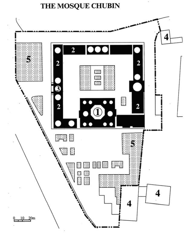 Plan de la merdersa Chubin, devenue Musée Amir Temur. 1 : salle de prière; 2 : chambres des étudiants; 3 : hall d'entrée; 4 : autres bâtiments; 5 : jardins. En pointillés : limite de la zone protégée (Dossier de classement de Shahrisabz, 1993)
