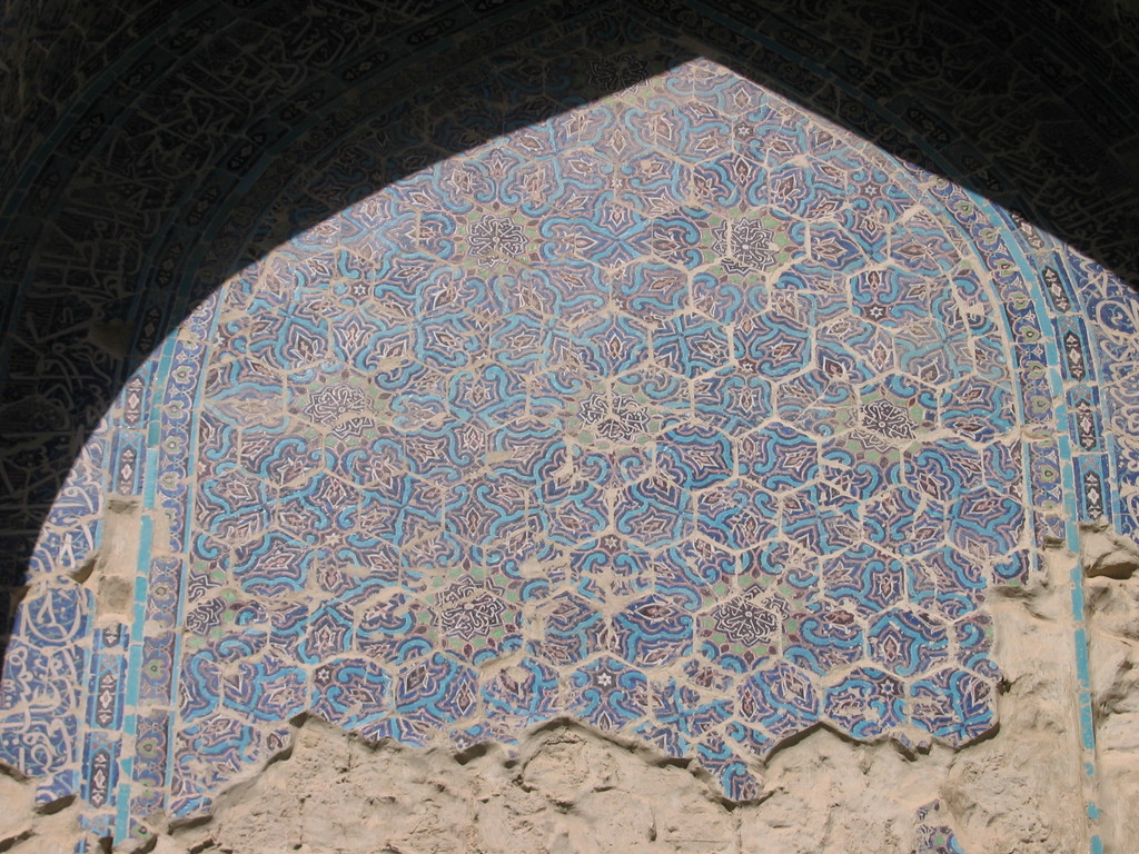 Décoration de l'iwan ouest (Shahrisabz, Fin XIII-début XIVème s ap J.C.) (photo : C.Ollagnier, 2008)