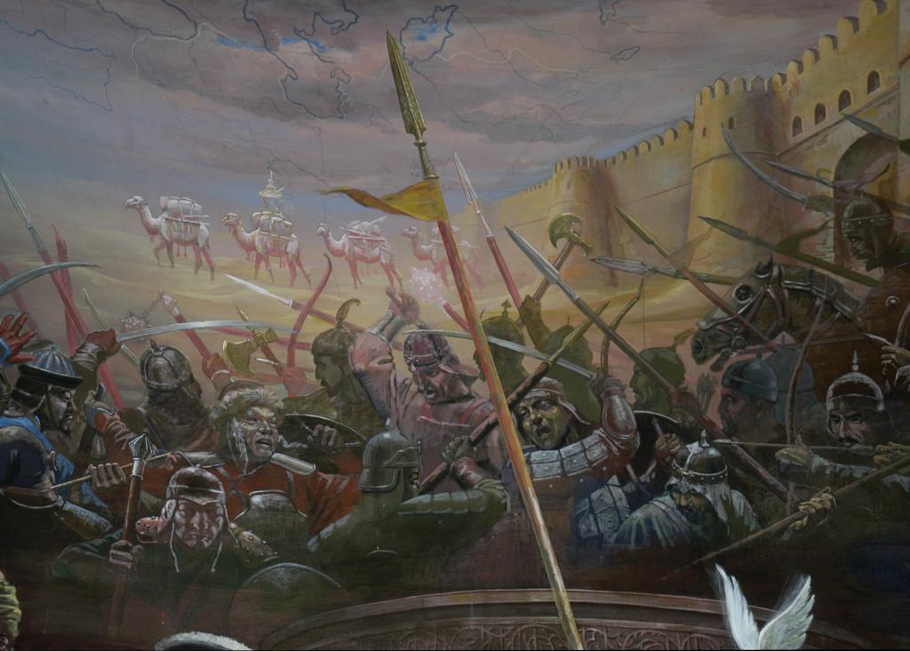 Fresque représentant les timourides, scène de bataille avec différentes ethnies visibles, Musée d'Histoire de Tachkent. Peinte en 2001 par A.Alikulov, A.Agahanyans et Z.Gulmetov (photo : Ollagnier, 2008)