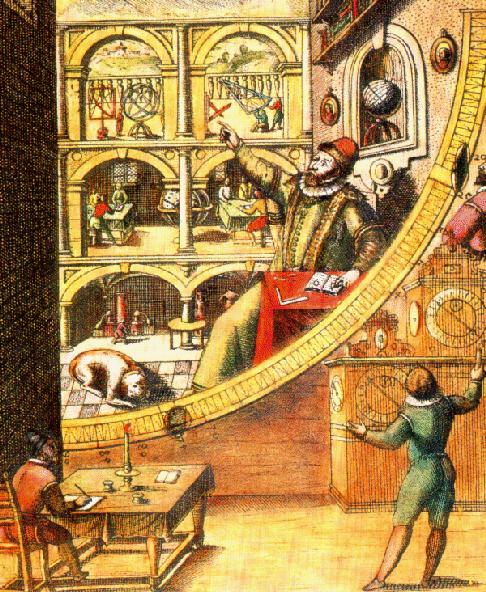 Tycho Brahe dans son Observatoire (source : Université d'Oregon, non datée)