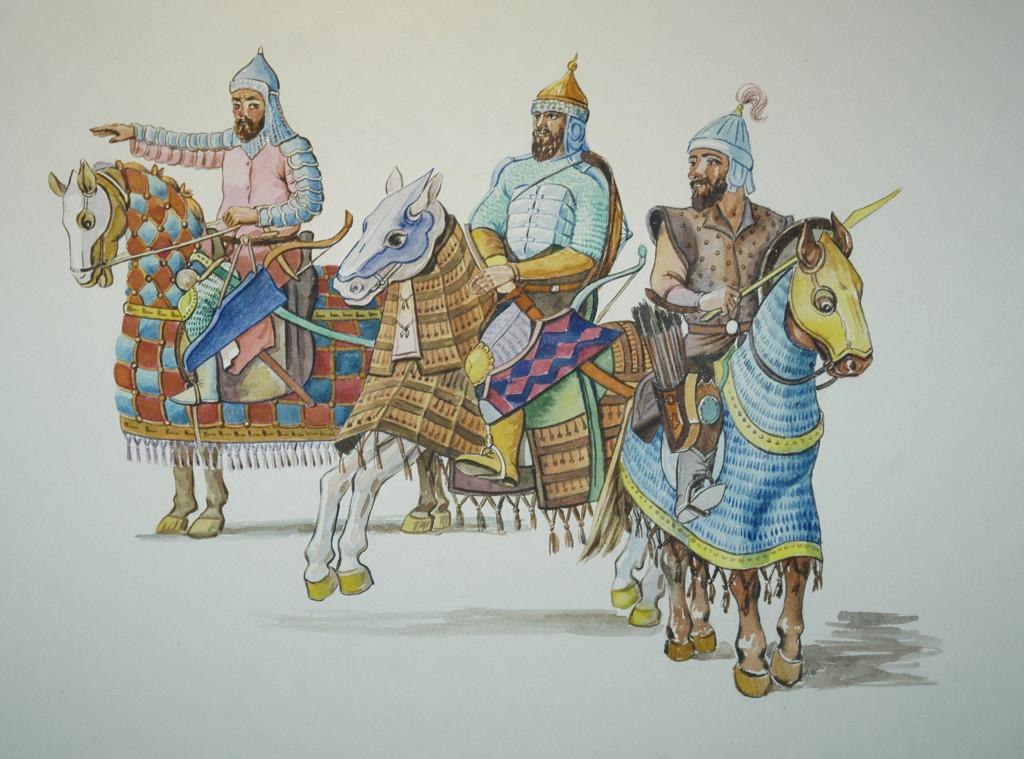 Représentation d'après les textes et les preuves matérielles des tenues de soldats de plusieurs corps de l'armée timouride (XIV-XVème s ap J.C.) Musée d'Archéologie et des Beaux Arts de Samarcande (photo : C.Ollagnier, 2008)