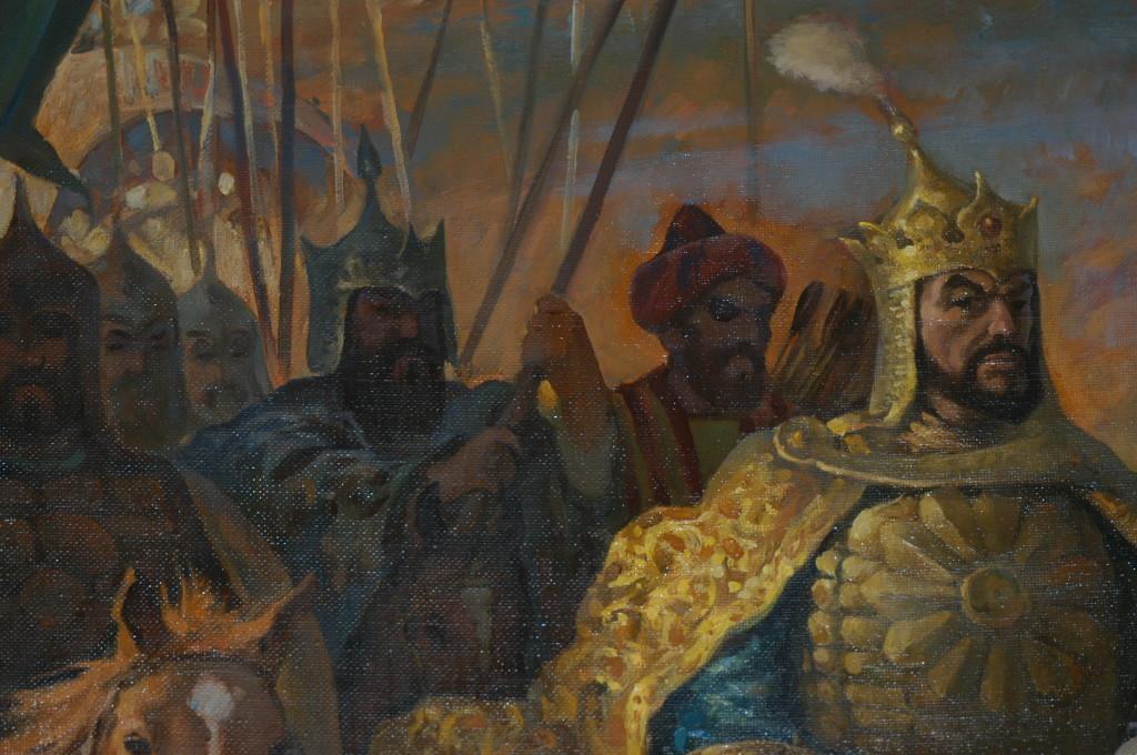 Amir Temur descendant en ville. Détail d'une oeuvre contemporaine de Z.Fakhriddinov, conservée au Musée Amir Temur de Tachkent (photo : M.Schvoerer, 2008)