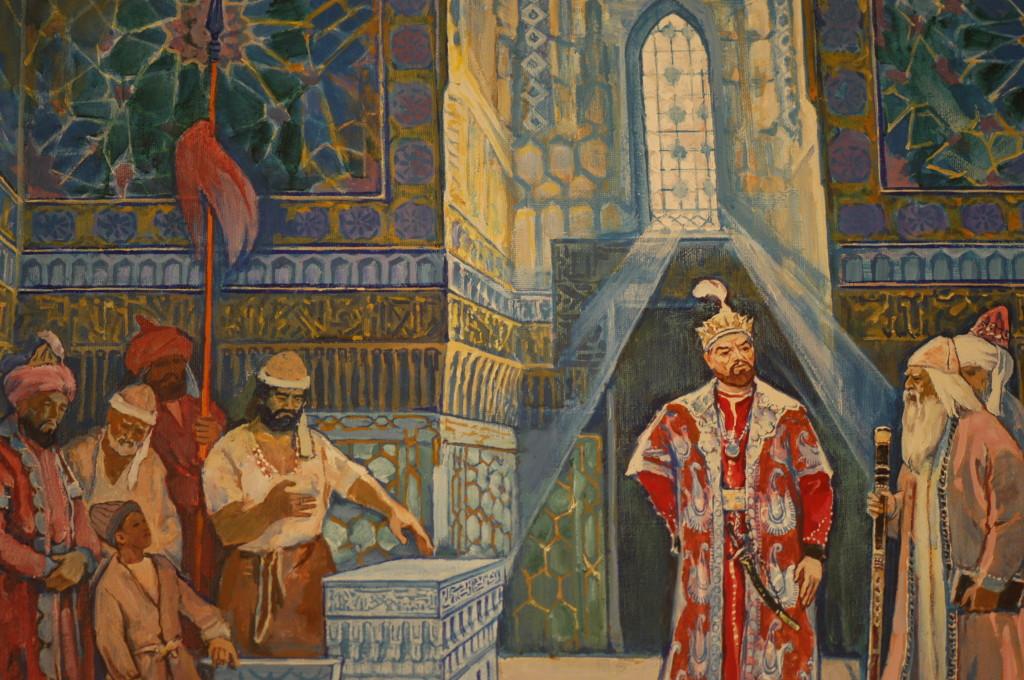 Amir Timur au mausolée (du Gur Emir), détail d'une oeuvre contemporaine de V.Rinal, conservée au Musée Amir Temur de Tachkent (photo : M.Schvoerer, 2008)