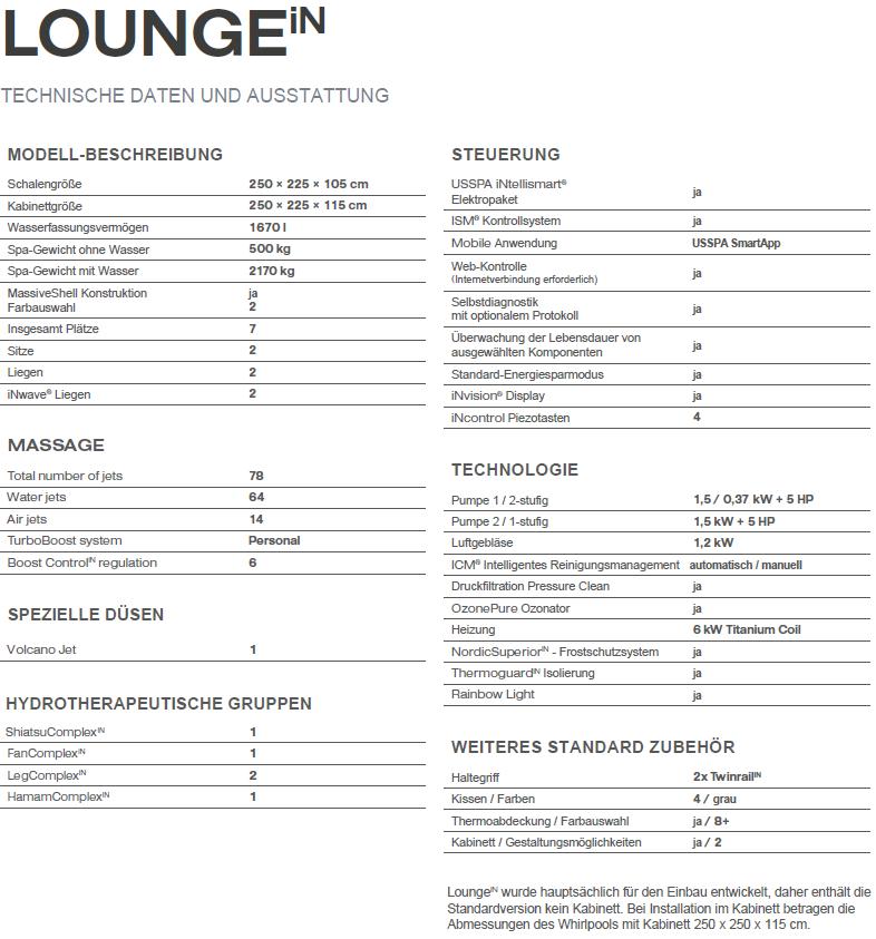 aussen whirlpool lounge technische daten