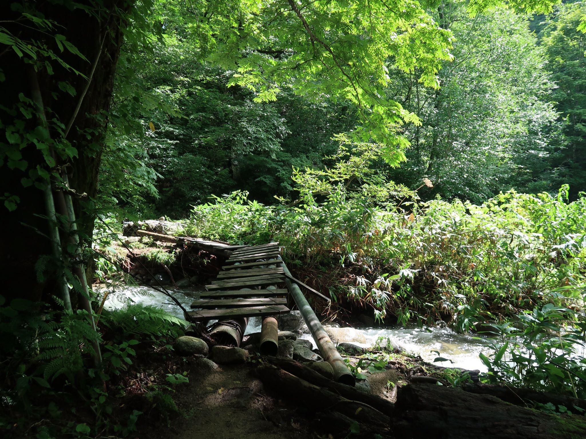 登山口から祓川山荘までの川にかかる橋(大雨の後で増水中)