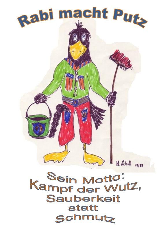 Das Bild zeigt das Umweltmaskottchen Rabi, das vor 31 Jahren zum 1. Umwelttag aufrief