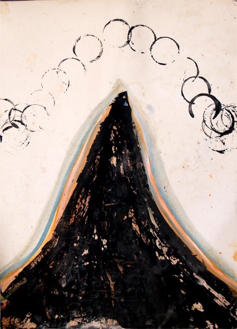 berg mit kreisen, 2015, Öl und Tusche auf Papier, 61 x 43 cm
