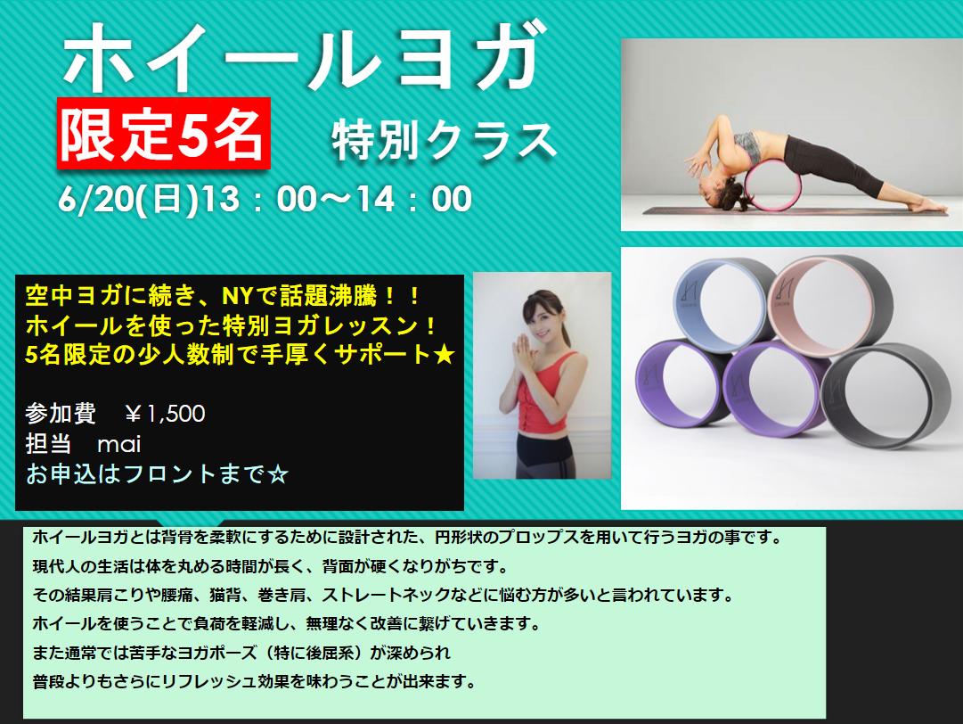 【限定5名】6/20(日)ホイールヨガ特別クラス