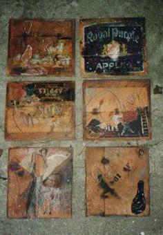 Objektensemble, 6 teilig, Collagen auf Holz, 1995