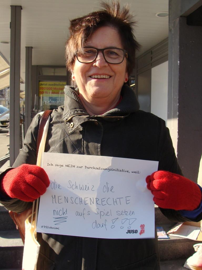 Trudi Schönenberger's Statement zur Durchsetzungsinitiative