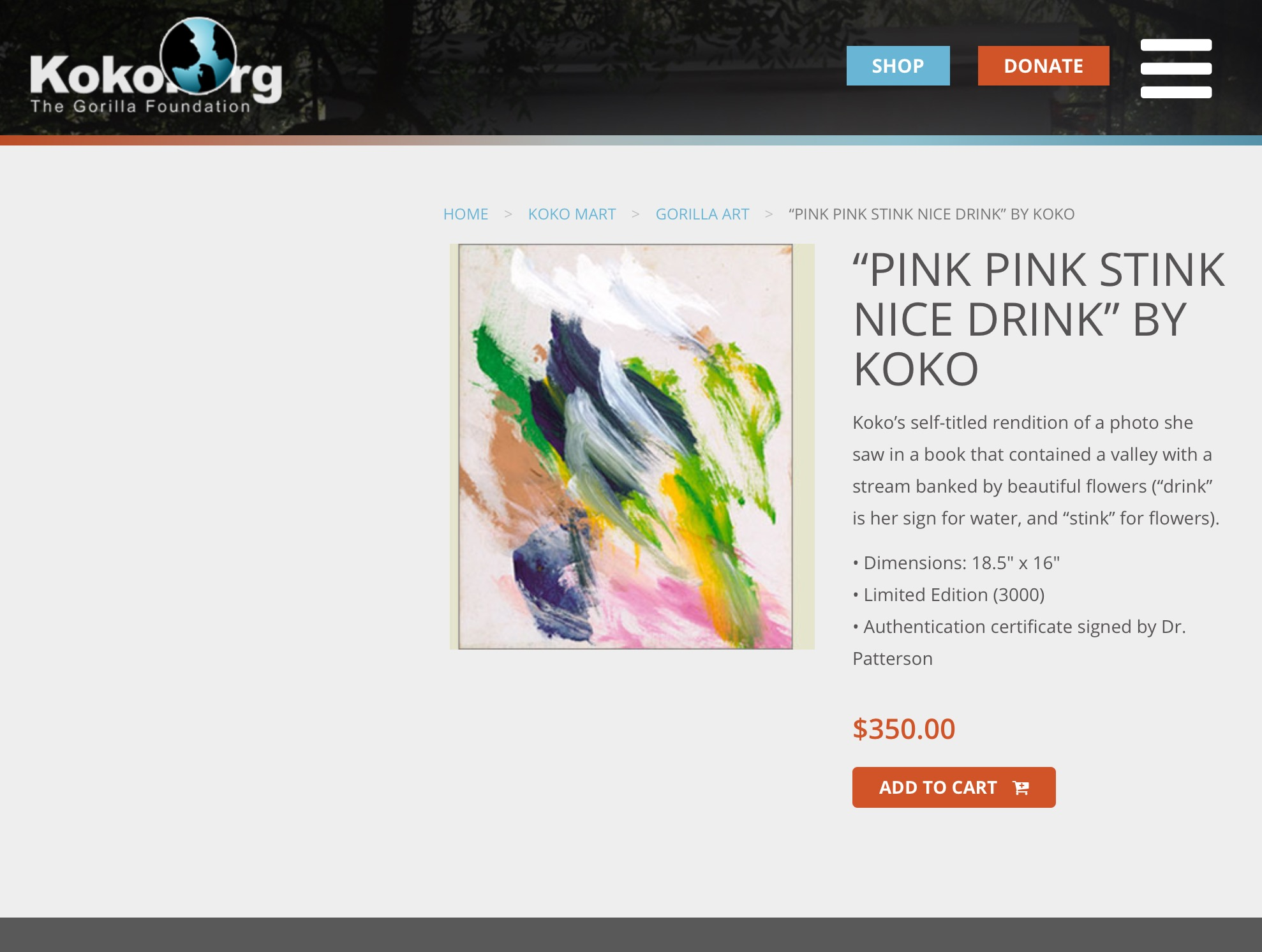 Quelle: The Gorilla Foundation, Woodside, CA. 94062  https://www.koko.org/shop/gorilla-art/pink-pink-stink-nice-drink-by-koko/