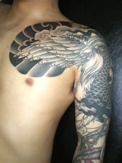 鳳凰、刺青和彫り