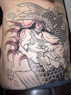 魚籃観音の刺青和彫り