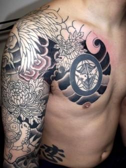 鶴と亀・菊ちらしの刺青和彫り