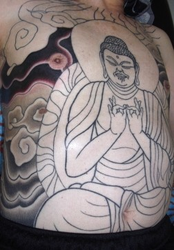 阿弥陀如来の刺青和彫り
